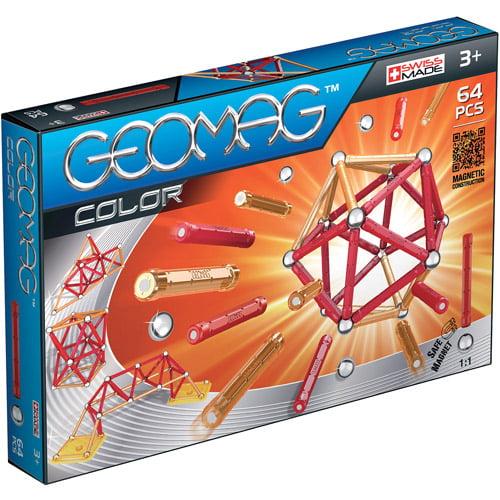 GeoMag Kids Color Magnetic Construction System Set, 64 Pieces