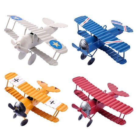 - eZAKKA Airplane Decor Vintage Mini Metal Decorative Airplane Model Hanging Wrought Iron Aircraft Biplane Pendant Toys for Photo Props, Christmas Tree Ornament, Desktop Decoration, 4 Color-Pack