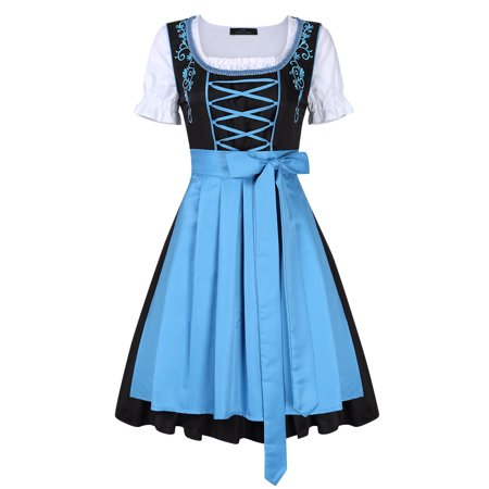 Women's 3 Pcs Dirndl Serving Wench Bavarian Beer Girl Oktoberfest Costume (Beer Bottle Costumes)