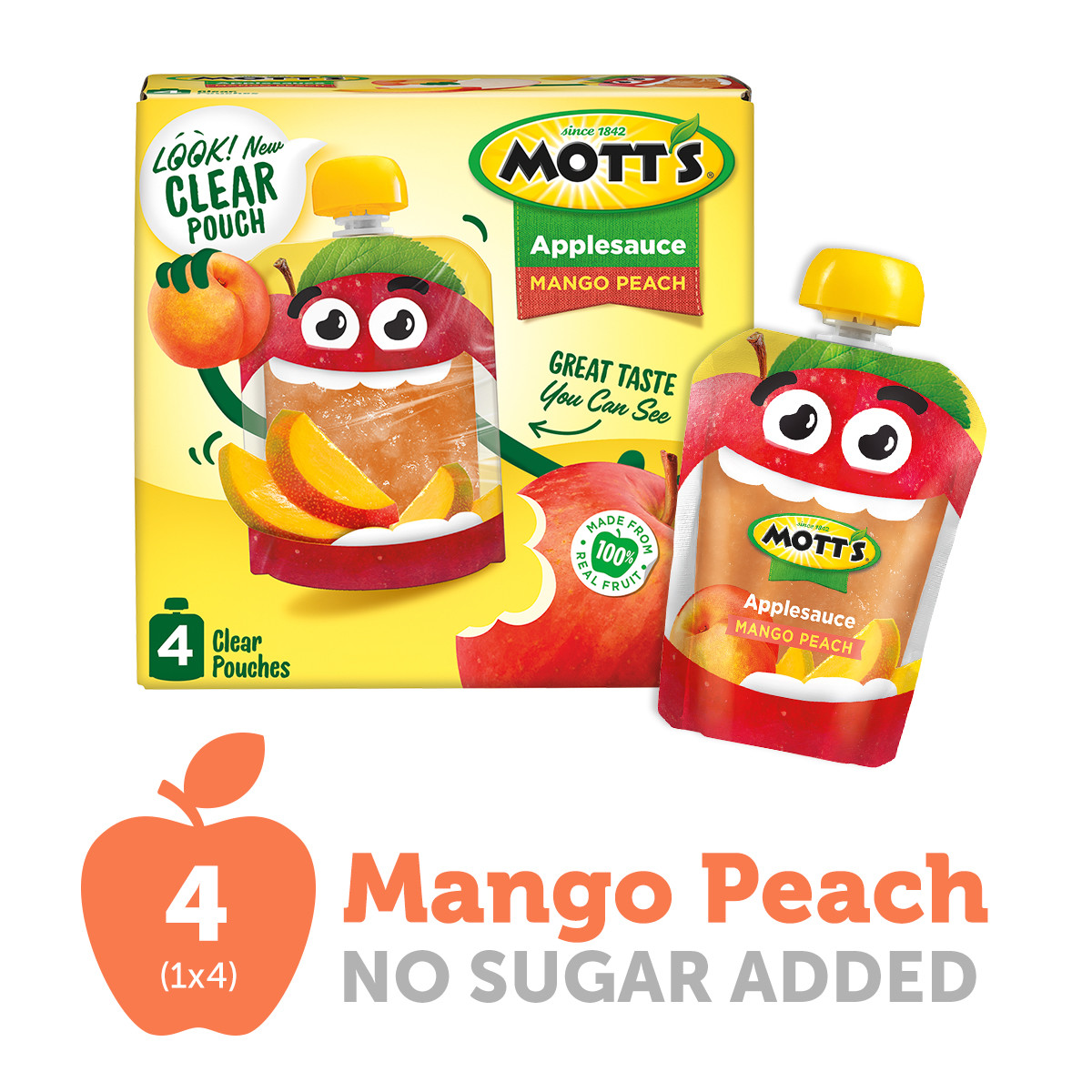 Mott's Mango Peach Applesauce, 3.2 oz clear pouches, 4 count