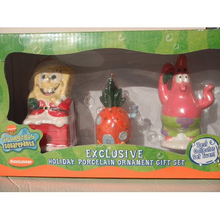 SPONGEBOB EXCLUSIVE HOLIDAY PORCELAIN ORNAMENT GIFT SET (SPONGEBOB, PINEAPPLE HOUSE and PATRIC STAR), 2004 by Kurt S. Adler, Inc By SpongeBob SquarePants From (Porcelain Star Ornament)