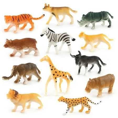 12pc Kids Childrens Assorted Plastic Toy Wild Animals Jungle Zoo Figure Assorted Wild Animals