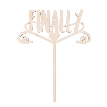 Ella Celebration Finally Wooden Wedding Cake Topper, Rustic Wood Toppers (Finally) for $<!---->