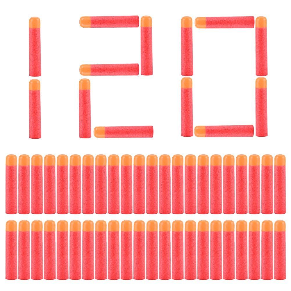 120pcs 9.5cm Red Soft Mega Refill Bullet Darts Foam Darts for N-strike Elite Series Blasters Kid Toy Gun