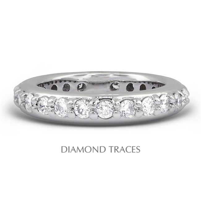 Diamond Traces UD-EWB450-8382 18K White Gold Pave Setting, 1.11 Carat Total Natural Diamonds, Classic Eternity Ring - image 1 of 1