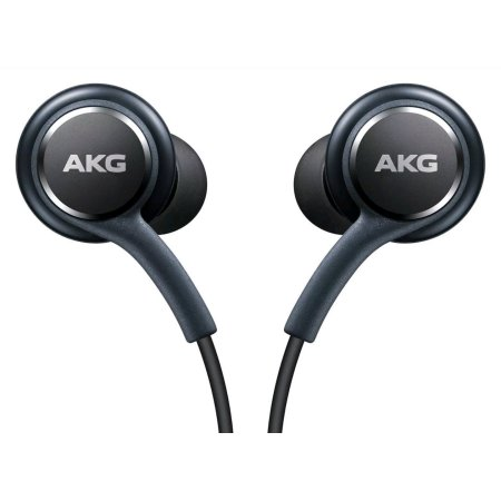 Samsung Earphones by AKG  For Galaxy S8 & S8 Plus W Extra Ear Gels, Grey, Bulk