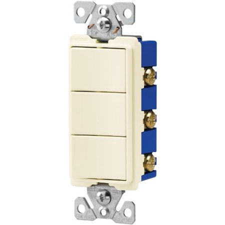Eaton 7729LA-SP 15-Amp 3-Way 120-Volt Decorator Heavy Duty Grade Three Single-Pole Combination Switches, Light -