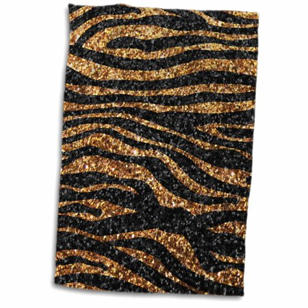 Faux Sparkles - 3dRose Gold and Black Zebra print - faux bling photo Not Actual Glitter - fancy diva girly sparkly sparkles - Towel, 15 by 22-inch