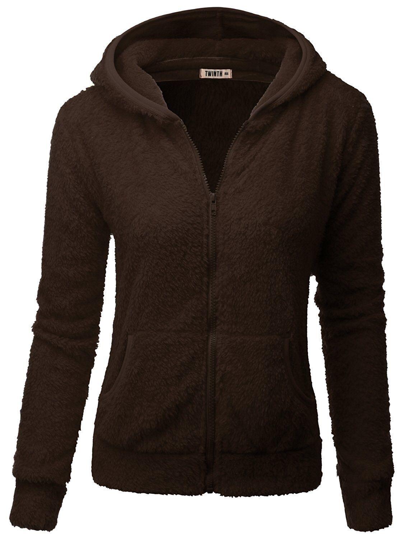 Doublju Womens Long Sleeve Big Size Hoodied Fleece Outerwear Jacket With Plus Size BROWN XL