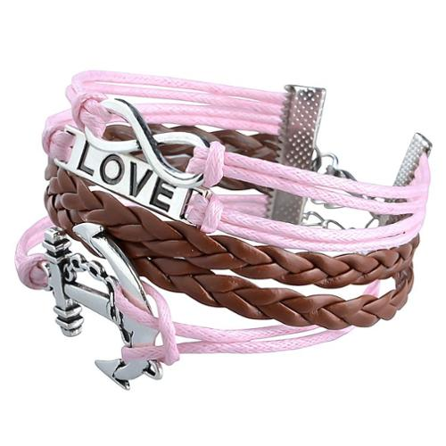 Zodaca Fashion Leather Cute Infinity Charm Bracelet Jewelry Silver lots Pink/Brown Anchor