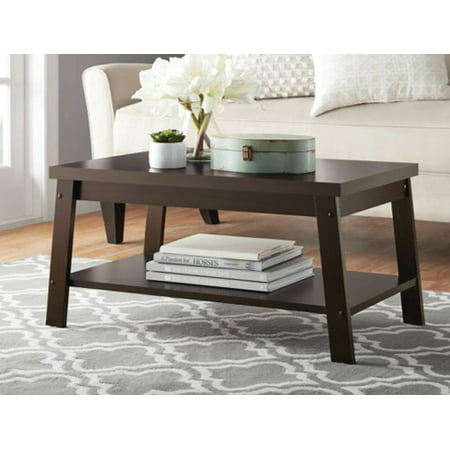 Mainstays Logan Coffee Table, Espresso Finishes Living Room Upholstered Table