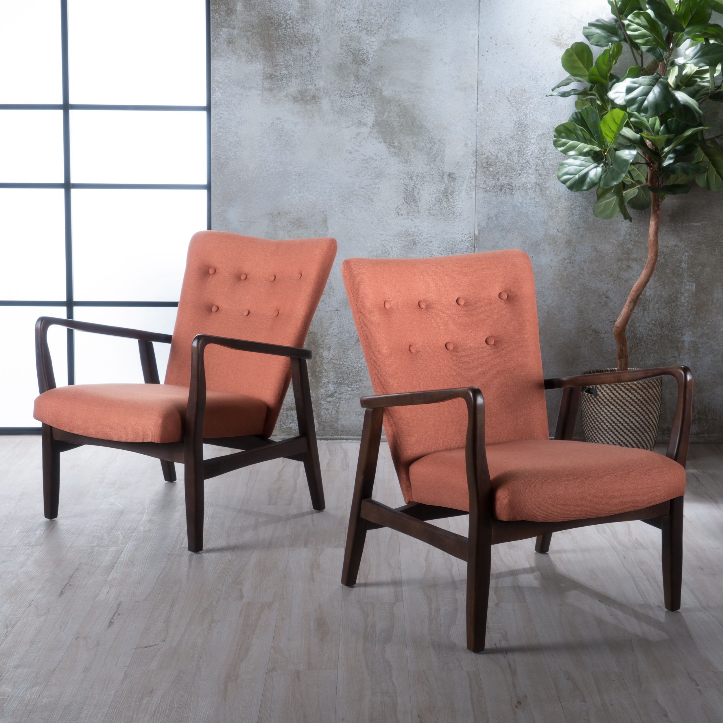 Noble House Capucine French Style Fabric Arm Chair, Set of 2, Orange