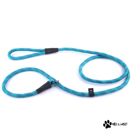 """Max and Neo Rope Slip Lead - We Donate a Leash to a Dog Rescue for Every Leash Sold (Teal, 5 FT x 1/2"""")"""