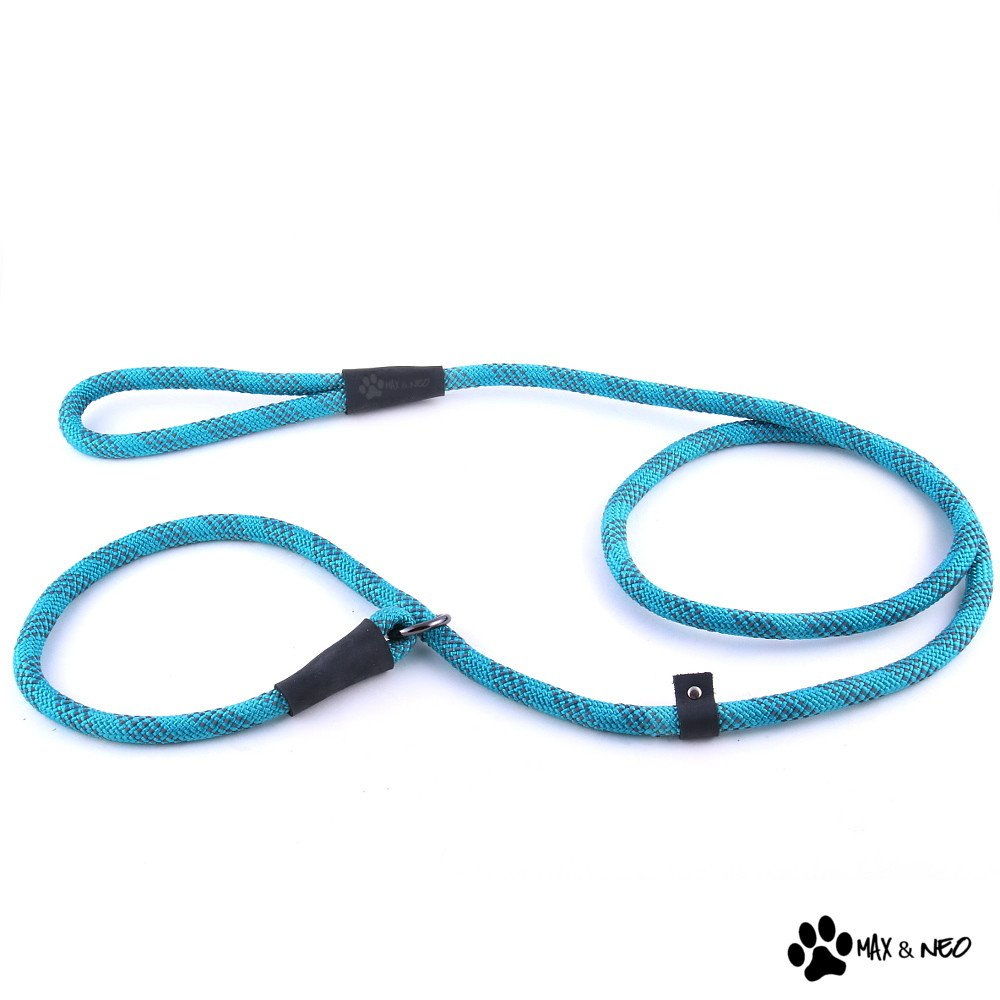 "Max and Neo Rope Slip Lead - We Donate a Leash to a Dog Rescue for Every Leash Sold (Teal, 5 FT x 1/2"")"