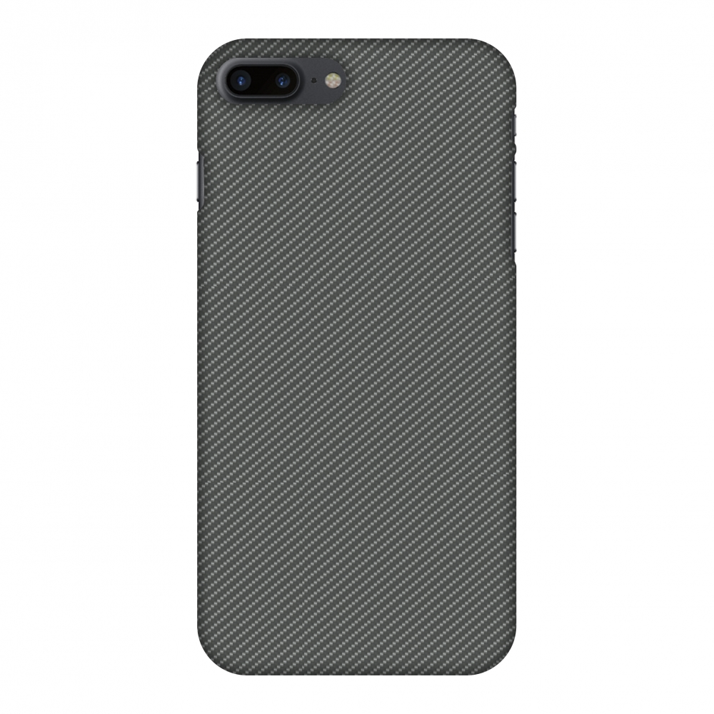 iPhone 8 Plus Case - Neutral Grey Texture, Hard Plastic Back Cover. Slim Profile Cute Printed Designer Snap on Case with Screen Cleaning Kit