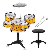 Kids Children Jazz Drum Set 5PCS Drums with Cymbal Drumsticks Adjustable Stool with Music Ligthing Vibration Electronic Effects Musical Percussion Instrument Toy Drum Playset for Boys Girls Birthday C