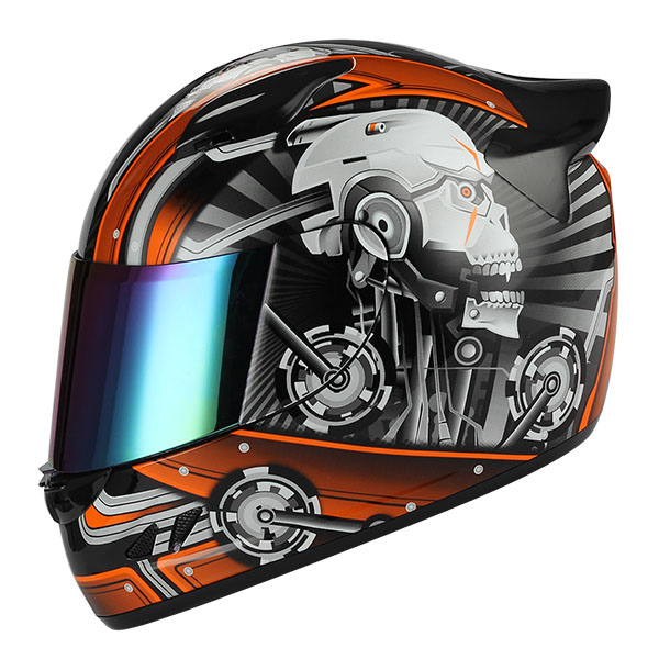 1STORM MOTORCYCLE BIKE FULL FACE HELMET MECHANIC SKULL RED