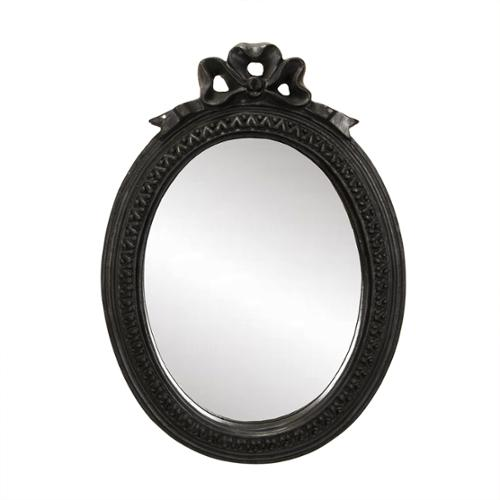 "11.25"" Vintage Style Black Decorative Bow Oval Wall Mirror"