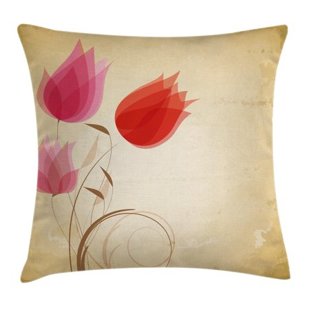 Floral Throw Pillow Cushion Cover, Tulips Flourishing Hazy Florets Essence Nature Beauty Themed Flower Design, Decorative Square Accent Pillow Case, 16 X 16 Inches, Sand Brown Red Pink, by Ambesonne