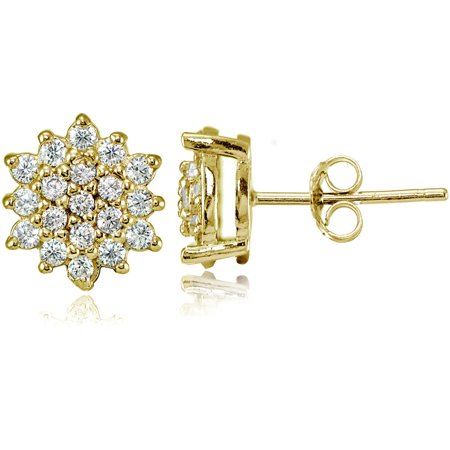 CZ Yellow Gold Flashed Sterling Silver Floral Stud Earrings