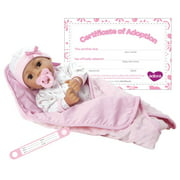 Adora Adoption Baby Precious 16 Inch Vinyl Girl Newborn Weighted Soft Cuddle Body Baby Doll Toy Gift Set with Open Close Brown Eyes for 3 Year old kids and up