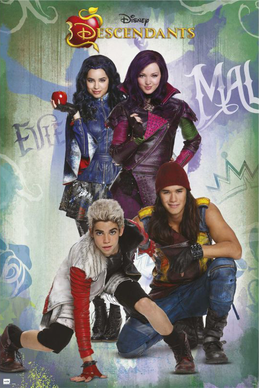 """Descendants Disney Movie Poster   Print (Characters) (Size: 24"""" x 36"""") (Clear Poster Hanger) by"""
