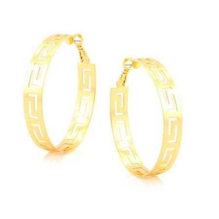 Gold-Plated Wide Greek Key Hoop Earrings