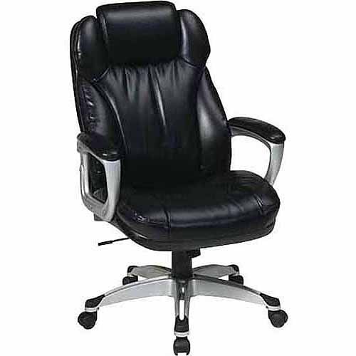 Office Star Worksmart Executive Leather Office Chair with Padded Arms