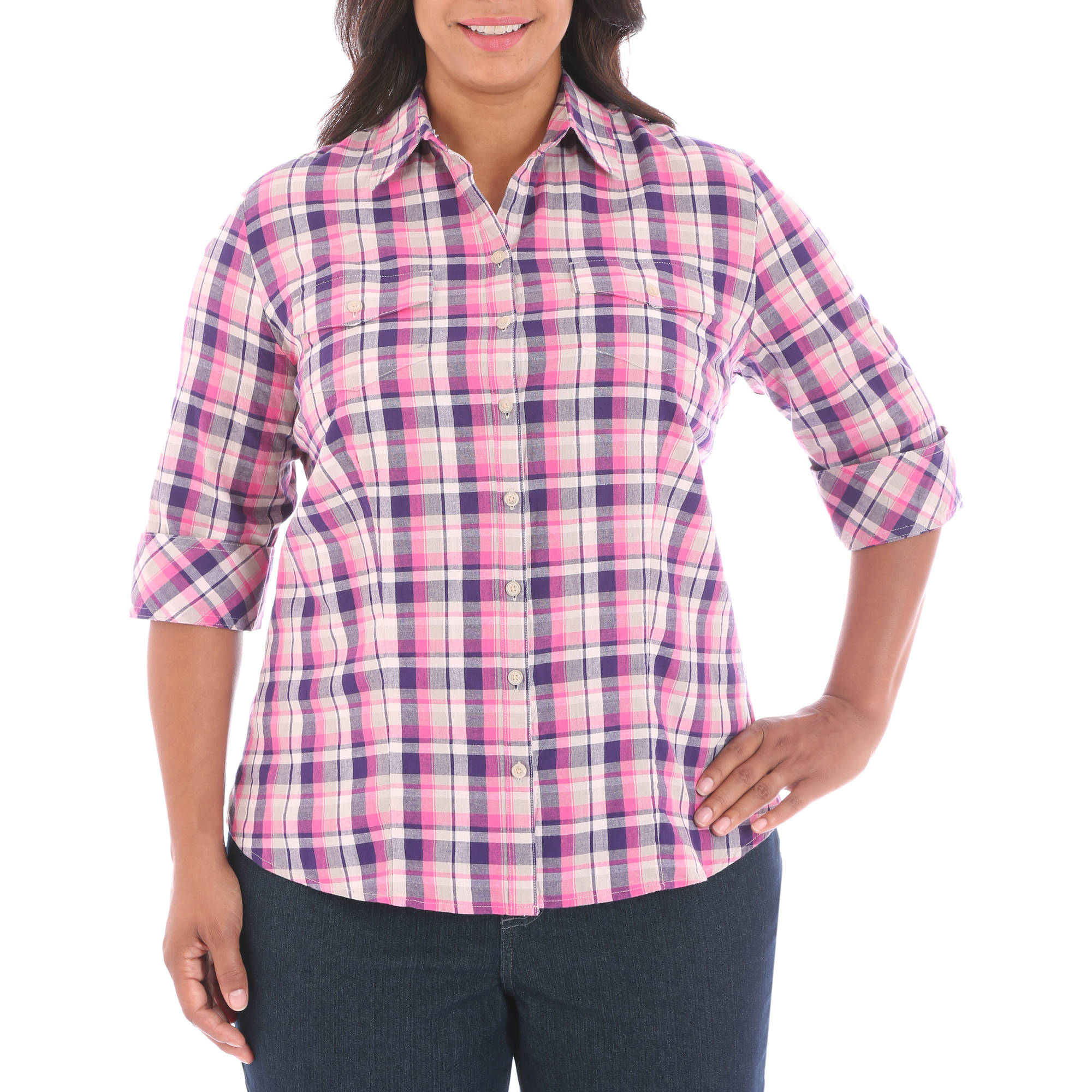 Riders by Lee Women's Plus Short Sleeve Denim Friendly Woven Shirt