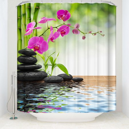Tinymills 3D Printed Home Bathroom Bamboo/Phalaenopsis Waterproof Shower Curtain w/Hooks Description:100%Polyester, High quality polyester pongee fabricIncludes 12 free plastic hooks.HIGHLIGHTS:  Makeover your bathroom with just a single touch! Start with these fun and decorative shower curtains.   SIZE: 70 INCHES LONG and 69 INCHES WIDE.   Our unique & modern designs match well with various color palettes of towels, rugs, bathroom mats and any other bathroom accessories.  Its a quick and luxurious way to refresh and change the appearance of a bathroom, pow er room, restroom, master bathroom, kids bathroom, guest suite or hotel bath without a big expense.   High resolution pictures bring a 3D like realistic experience to your life.   Colors won't fade thanks to new digital printing methods.   It's not too thin or too thick. Adds real value and depth to your decor.   They're waterproof and dry fast after you shower.   A perfect gift idea for your mom, dad, sister, brother, grandma, grandpa, wife, husband, son, daughter and all other beloved ones with 10's of thousands of surprising designs.   A bathroom is where you spend a considerable part of your day, it's a place to relax so enter a new world by having our shower curtains.   Can be at the seashore, can feel ocean waves or meditate while staring at mountain landscapes.  If you are a fan of sports or have a hobby of any kind, you will be spending time with it in your own personal space.  Customized, personalized products are very popular. As manufacturers of digital printed home textiles, we follow current trends and bring you the latest home fashion.  Either a gift to your family or friend, parents, grandparents, relative, boyfriend, girlfriend, or to yourself, the item should be interesting and authentic.   Men, women, kids, teens, boys or girls will love this item. NOTES:  Due to manual measurement, please kindly allow 1-2 cm discrepancy.   The digital images we display have the most accurate color possible but 