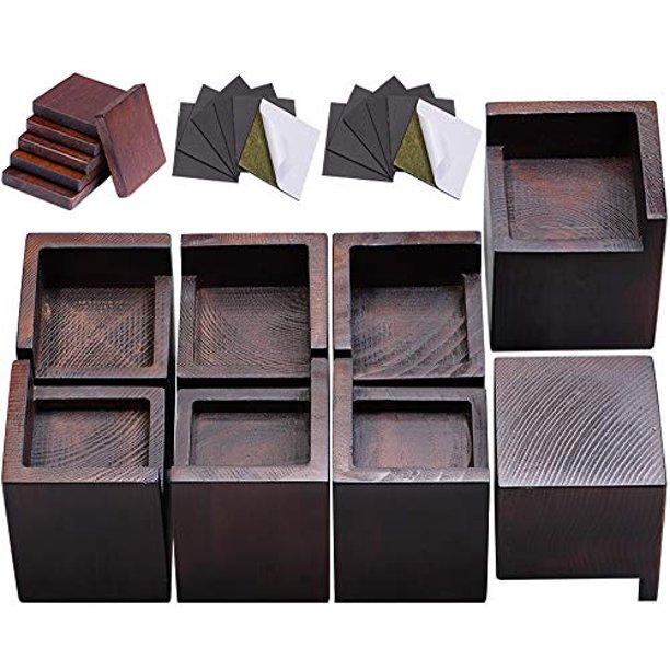 Fasonla Bed Risers Set Of 8 Furniture, Wood Risers For Furniture