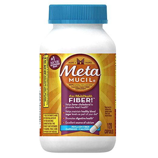 Metamucil Multi-Health Fiber Capsules Plus Calcium by Meta, 120 capsule bottle