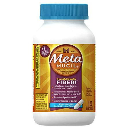 Fiber Supplement Plus Calcium - Metamucil Multi-Health Fiber Capsules Plus Calcium by Meta, 120 capsule bottle