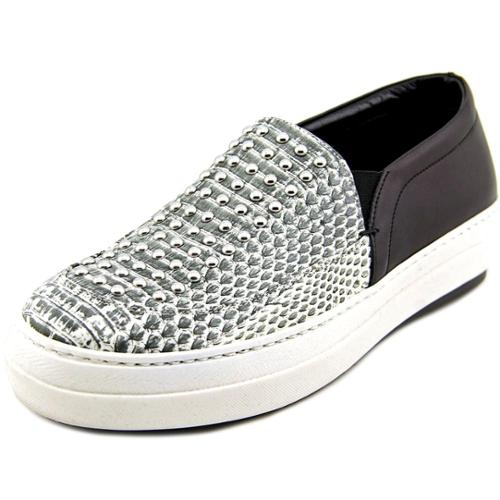 Alexander McQueen Daze Studded Slip On Women  Leather Gray Fashion Sneakers