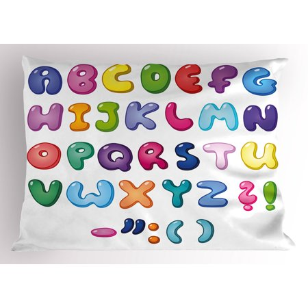 Letters Pillow Sham Bubble Shaped 3D Style Alphabet Set Colorful Kids Children Design Comic Typeset, Decorative Standard Queen Size Printed Pillowcase, 30 X 20 Inches, Multicolor, by Ambesonne](Bubble Letter Alphabet)