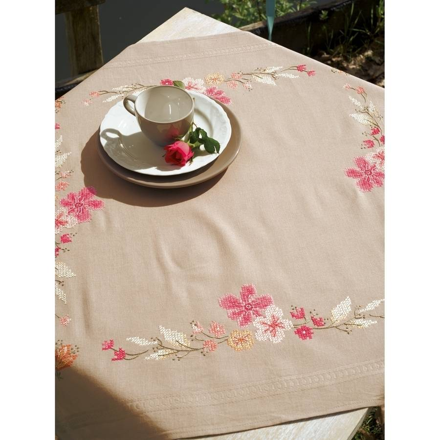 """Pink Flowers Tablecloth Stamped Cross Stitch Kit, 32"""" x 32"""""""
