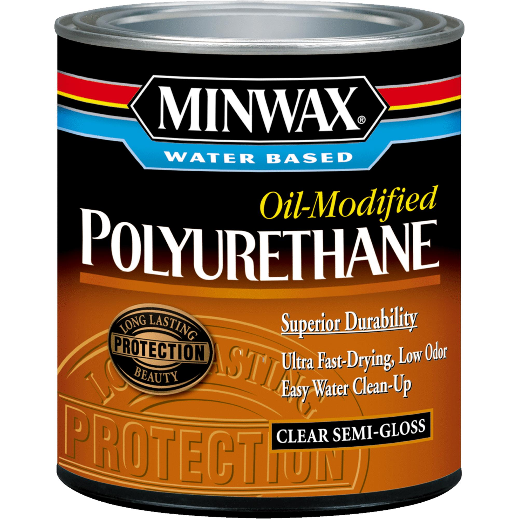 Minwax Water-Based, Oil-Modified Polyurethane Finish, 1 Qt, Semi-Gloss