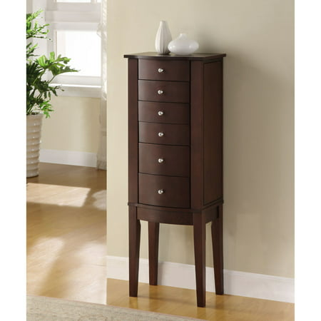 Powell Jewelry Armoire With Plush Black Lining, Mirror and Swing-Out Doors, Merlot Powell Ebony Jewelry Armoire