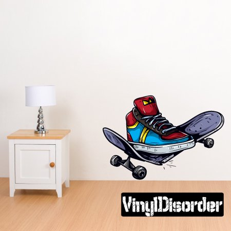 Board Vinyl Decal Sticker (Broken Skateboard Wall Decal - Vinyl Car Sticker - Uscolor001 - 25 Inches)