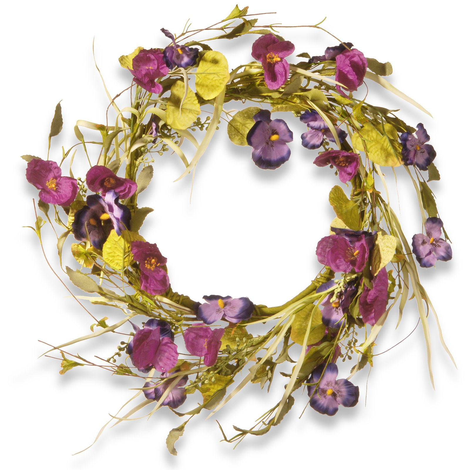 "National Tree Artificial 22"" Poppy and Pansy Wreath"