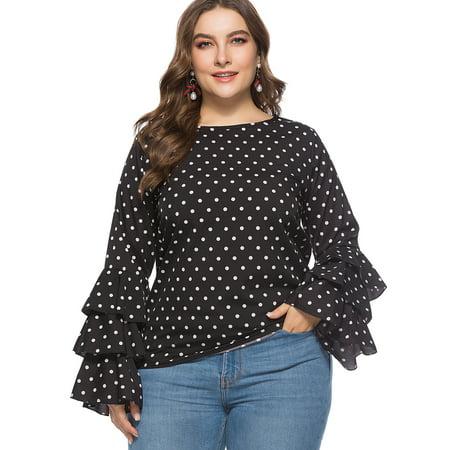 286e68d1f6a40 SAYFUT - Women Maternity Bell Long Sleeve Tops Loose Chiffon Blouse Ruffle  Polka Dots Shirt Plus Size Top Black XL-6XL - Walmart.com