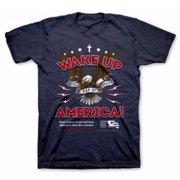 Tee Shirt-Wake Up America-XX Large-Blue