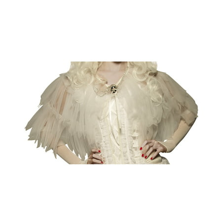 White Good Witch Adult Women Ruffled Sheer Ghost Costume Capelet Shawl - Shaft Costume