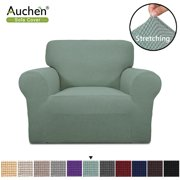 "Auchen Purefit Super Stretch Chair Sofa Slipcover, Cyan Chair Slipcover Furniture Cover/Protector Fit Chair Sofa Width 31"" to 46"", Non Slip Soft with Small Checks ( Chair, Cyan )"