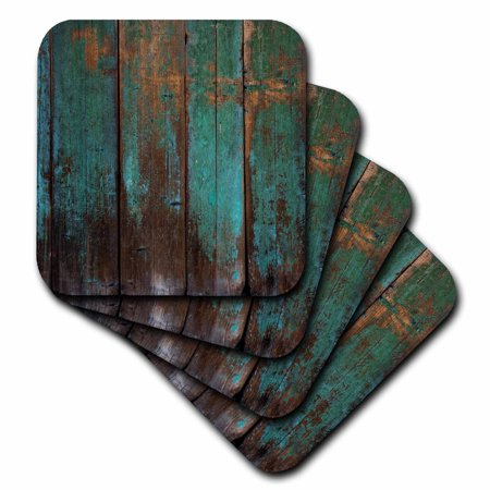 Diva Tile Coaster - 3dRose Teal Distressed Country Wood Effect - Ceramic Tile Coasters, set of 4
