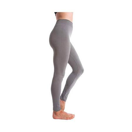 Altatac Seamless Full Length High Waist Fleece Lined Leggings for Women - Girls Brown Leggings