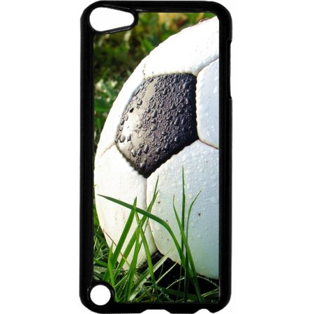 Wet Soccer Ball   - Hard Black Plastic Case Compatible with the Apple iPod Touch 6th Generation - iTouch 6 Universal (Itouch 2 Generation)