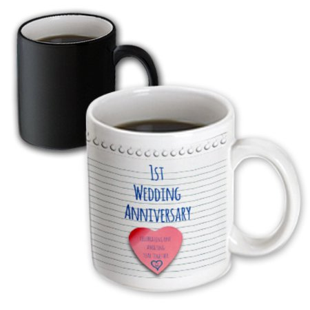3dRose 1st Wedding Anniversary gift - Paper celebrating 1 year together - first anniversaries - one yr, Magic Transforming Mug, 11oz