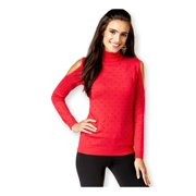 Thalia Sodi Womens Studded Cold Shoulder Pullover Sweater, Red, X-Large