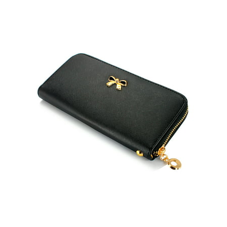 Collection Leather Clutch Wallet (New Fashion Lady Bow-Tie Zipper Around Women Clutch Leather Long Wallet Card Holder Case Purse Handbag Bag Party)